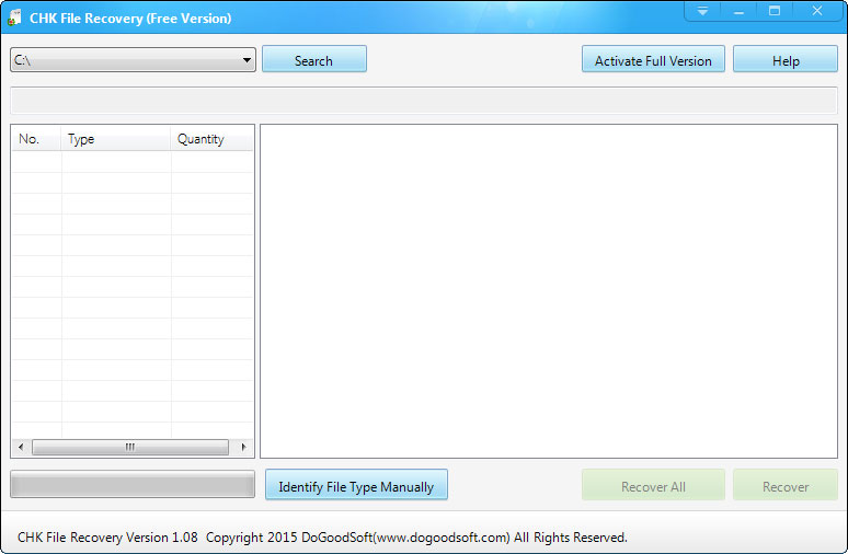 CHK File Recovery Screen shot